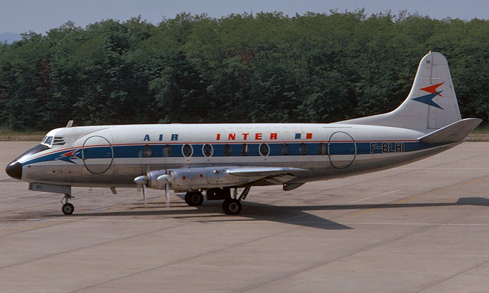 BLHI. Air Inter - in the full livery at Basle Airport, May 1973.